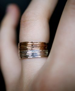 Ultra Thin Gold Filled and Silver ring set of 10