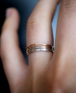 Ultra Thin Gold Filled and Silver ring set of 5