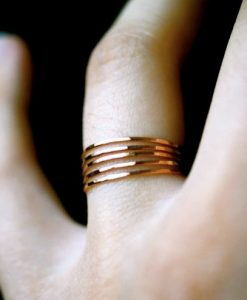 Ultra Thin Rose Gold Filled ring set of 5