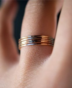 Solid gold stacking ring set of 5
