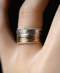 Sterling Silver and Gold Mixed Metal stack ring set