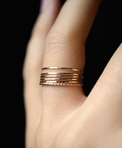 Ultra Thin Gold Filled Twist stacking rings set of 6