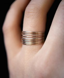 Sterling Silver and Gold Mixed Metal stacking ring set of 10, Ultra Thin