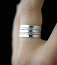 Extra Thick and Ultra Thin ring set of 7, Sterling Silver