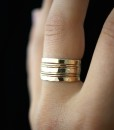 Extra Thick and Ultra Thin ring set of 7, Gold fill