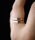 Extra Thick and Ultra Thin Twist ring set of 5, 14K Rose Gold fill