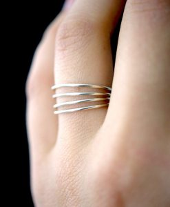 Smooth Medium Thick Silver Stacking ring set