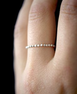 Thick Sterling Silver Beaded Chain ring