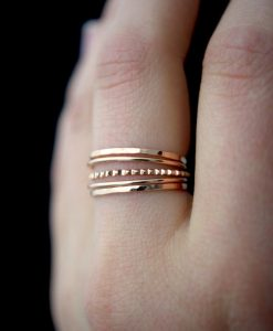 Medium Thick Lined Set of 5, 14K Rose Gold fill