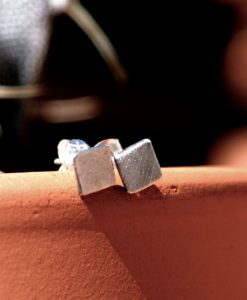 Tiny Square Studs in Sterling Silver