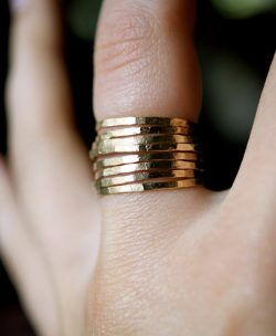 Set of 8 Medium Thickness Gold rings