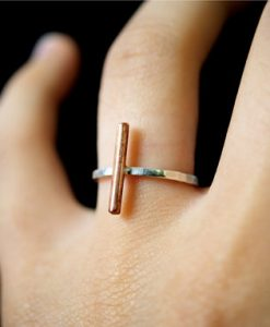 Linear Bar ring in Copper