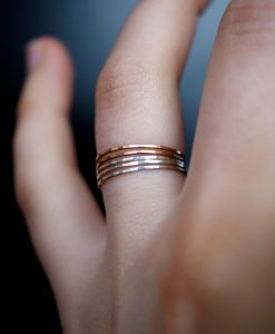 Ultra Thin Rose Gold Filled and Silver ring set of 5