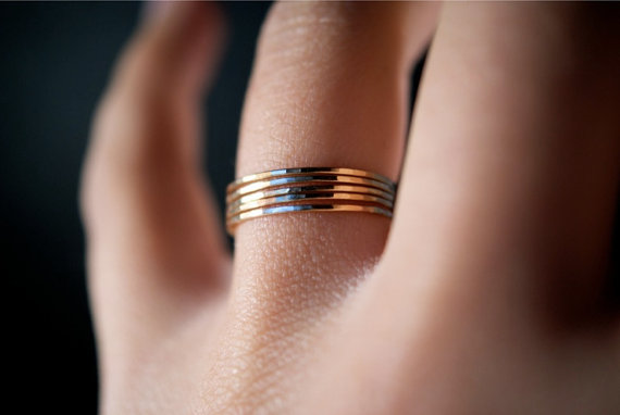 Ultra Thin Ring Set of 5 Solid 14K Gold Hannah Naomi Jewelry