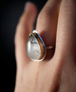 Gold and Silver Rutilated Quartz ring