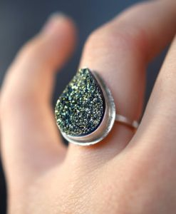 Golden Green Iridescent Druzy ring