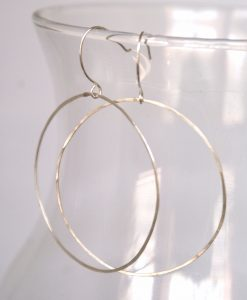 Simple Hammered Hoops in Silver
