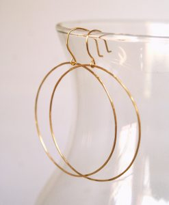 Simple Hammered Hoops in Gold