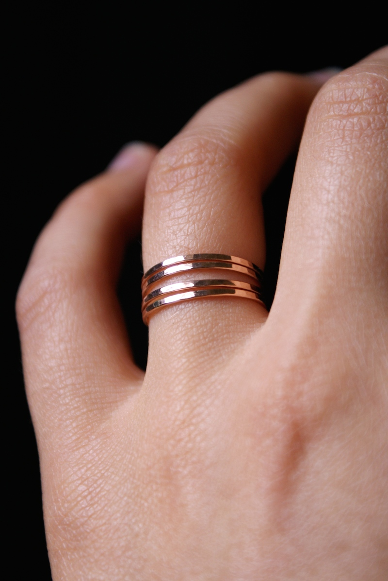 Medium Thick Ring Set of 4, 14K Rose Gold fill - Hannah Naomi Jewelry