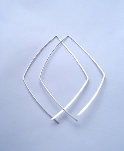 Diamond Open Hoops in Sterling Silver