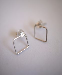 Tiny Diamond Studs in Sterling Silver