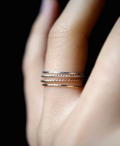 Ultra Thin Gold and Silver Twist stacking rings set of 4