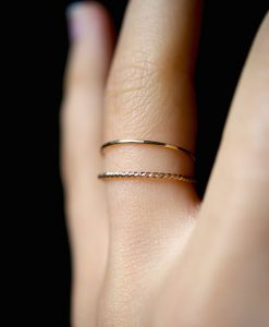 Set of 2 Twist stacking rings, 14K Gold