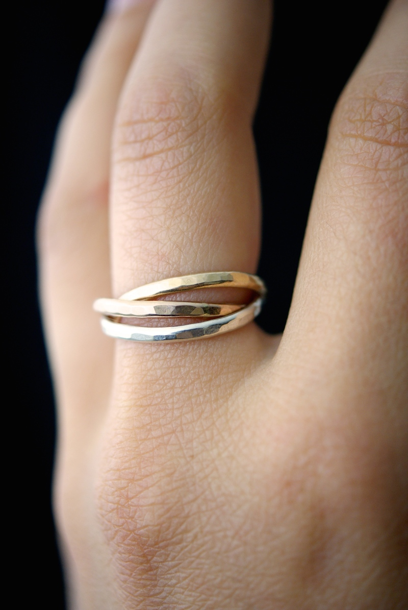 Interlocking Rings Sterling Silver 14k Gold Fill 14k