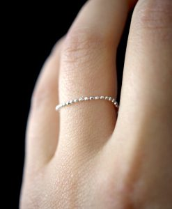 Thin Sterling Silver Beaded Chain ring