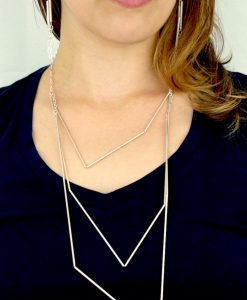 Large Silver Geometric Necklace