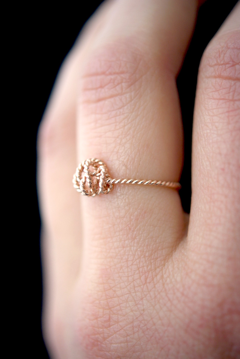 Twisted Nest ring, Solid 14K Rose Gold - Hannah Naomi Jewelry