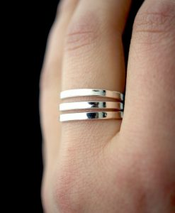 Extra Thick Smooth Silver rings, set of 3