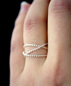 Thick Silver Twist Wraparound ring
