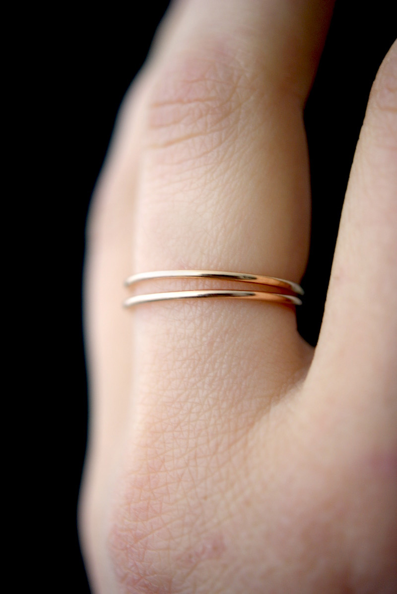 23858490d6d16 Medium Thick Ring Set of 2, Solid 14K Rose Gold