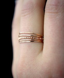 Ultra Thin Lined Set of 5, 14K Rose Gold fill