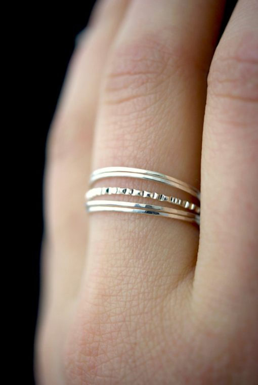 Ultra Thin Lined set of 5 rings, Silver