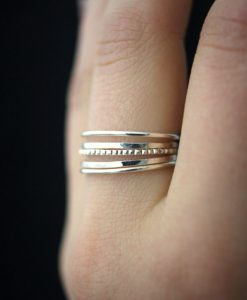 Medium Thick Lined Set of 5, Sterling Silver