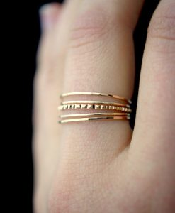 Ultra Thin Lined Set of 5, 14K Gold-fill