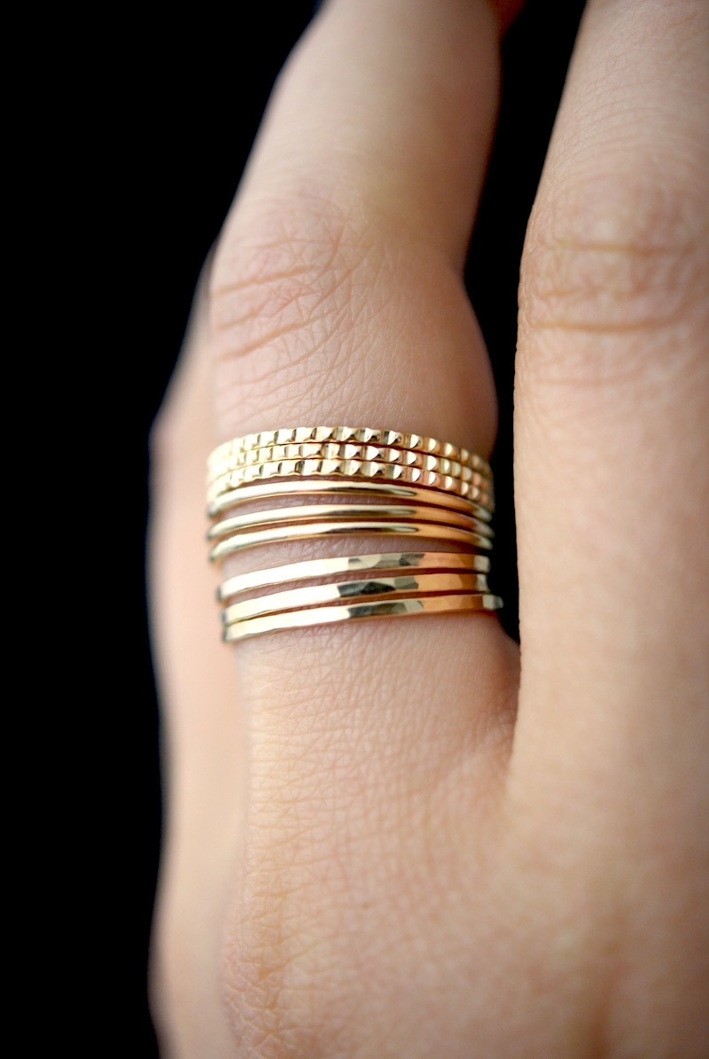 75d9e139be367 Medium Thick Lined Ring Set of 9, Solid 14K Gold