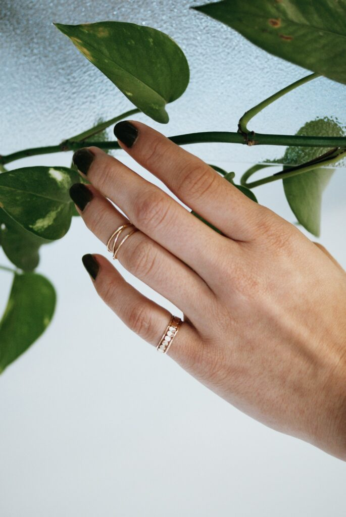 Hand with stacking rings